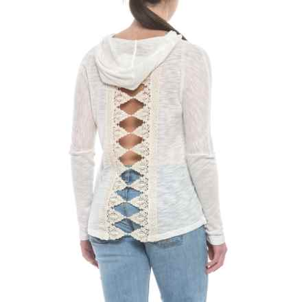 Cowgirl Up Lightweight Pullover Hoodie with Crochet Lace Back Trim (For Women) in Ivory - Closeouts