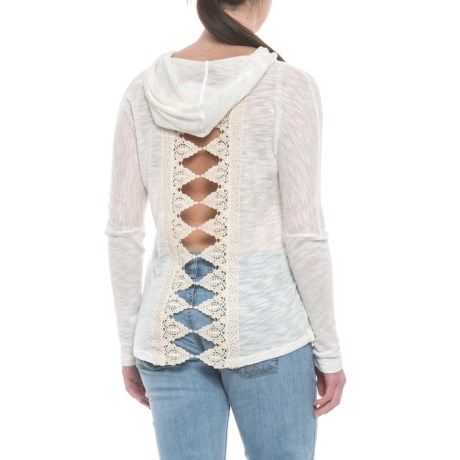 Cowgirl Up Lightweight Pullover Hoodie with Crochet Lace Back Trim (For Women) in Ivory