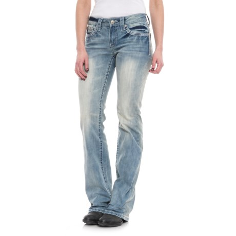 Cowgirl Up Rainy Mid-Rise Jeans - Bootcut (For Women) in Light Stonewash