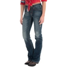 Cowgirl Up Ranch Party Stonewashed Jeans - Mid Rise, Bootcut (For Women) in Dark Stonewash - Closeouts