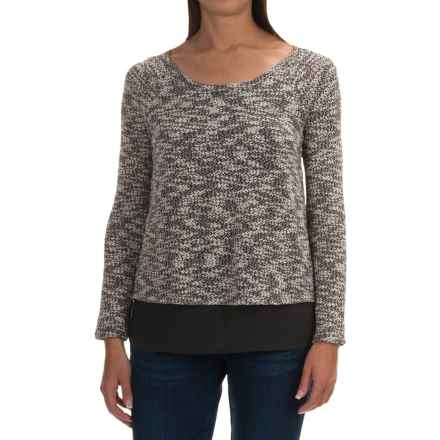 Cowgirl Up Slub-Knit and Chiffon Sweater (For Women) in Black - Closeouts
