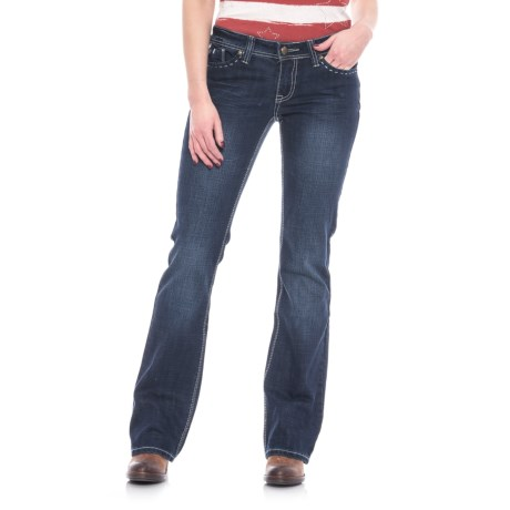 Cowgirl Up Sugar Jeans - Low Rise, Bootcut (For Women) in Dark Stonewash