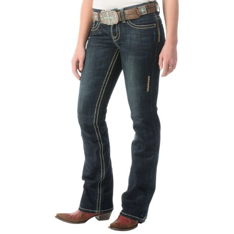 Cowgirl Up Up 201 Stonewashed Jeans - Relaxed Fit, Bootcut (For Women) in Dark Stonewash