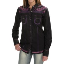 Cowgirl Up Vintage Embroidered Shirt - Long Sleeve (For Women) in Black - Closeouts