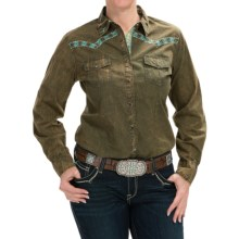 Cowgirl Up Vintage Embroidered Shirt - Long Sleeve (For Women) in Olive - Closeouts