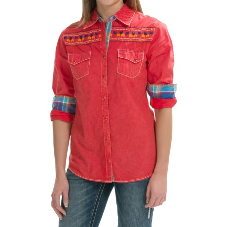 Cowgirl Up Vintage Embroidered Shirt Long Sleeve (For Women)