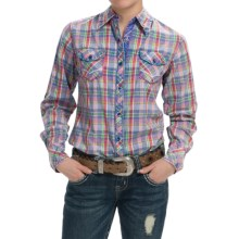 Cowgirl Up Vintage-Washed Plaid Shirt - Long Sleeve (For Women) in Pastel Plaid - Closeouts