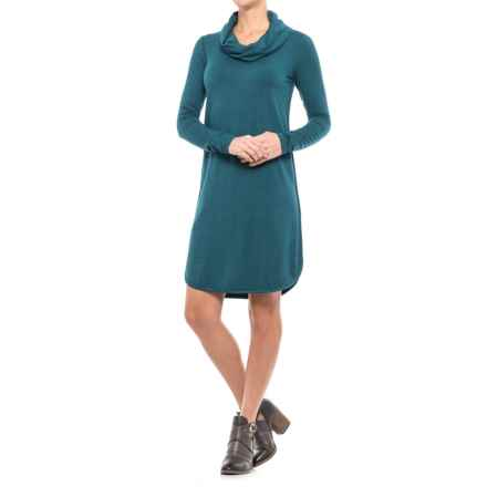 Cowl Neck Dress - Long Sleeve (For Women) in Turq Heather - 2nds