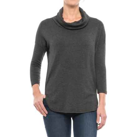 Cowl Neck Shirt - 3/4 Sleeve (For Women) in Charcoal - 2nds