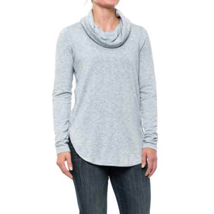 Cowl Neck Shirt - Long Sleeve (For Women) in Blue - 2nds