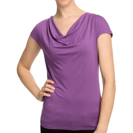 Cowl Neck Shirt - Short Sleeve (For Women) in Purple