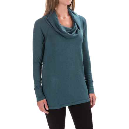 Cowl Neck Tunic Shirt - Long Sleeve (For Women) in Dark Teel - 2nds