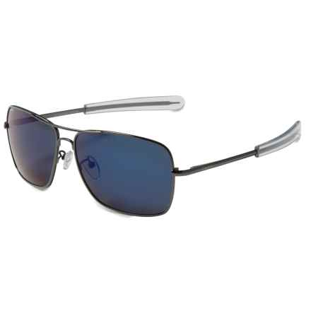 Coyote Eyewear Pilot Aviator Sunglasses - Polarized in Dark Gunmetal/Blue Mirror - Closeouts