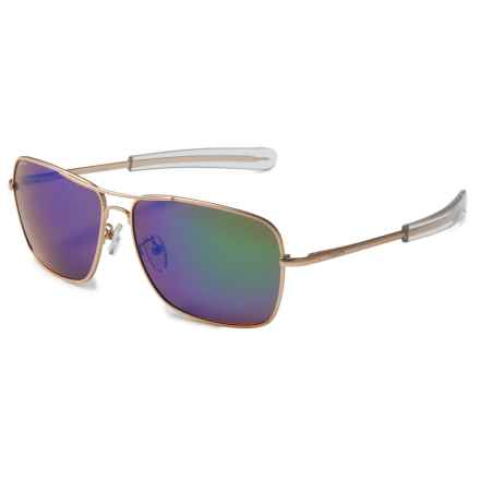 Coyote Eyewear Pilot Aviator Sunglasses - Polarized in Matte Gold/Green Mirror - Closeouts