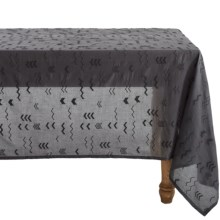 "Coyuchi Abstract Embroidered Voile Tablecloth - Organic Cotton, 70x108"" in Charcoal / Almost Black - Closeouts"