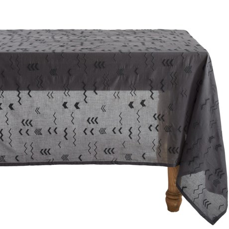 Coyuchi Abstract Embroidered Voile Tablecloth Organic Cotton, 70x108