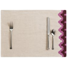 "Coyuchi Bold Embroidered Linen Placemat - 14x20"" in Natural / Orchid Mulberry - Closeouts"