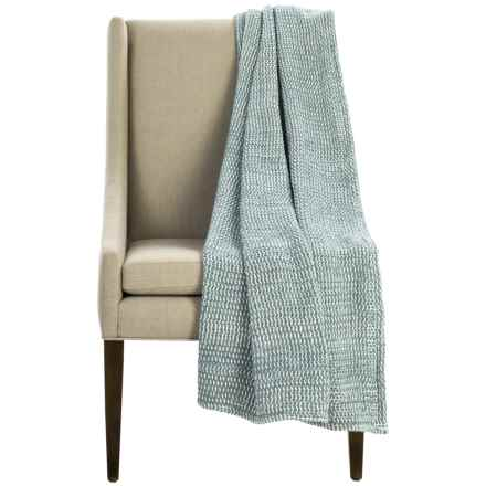 "Coyuchi Chenille Chunky Throw Blanket - Organic Cotton, 47x60"" in Deep Dusty Aqua - Overstock"