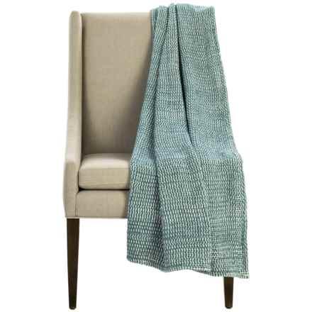 "Coyuchi Chenille Chunky Throw Blanket - Organic Cotton, 47x60"" in Dusty Aqua - Overstock"
