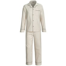 Coyuchi Classic Flannel Pajamas - Long Sleeve (For Women) in Ivory W/Deep Charcaol - Closeouts