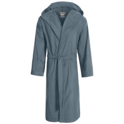 Coyuchi Cloud Robe - Brushed Flannel, Hooded, Long Sleeve (For Men and Women) in Pewter