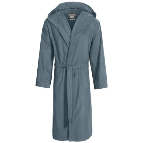 Coyuchi Cloud Robe - Brushed Flannel, Hooded, Long Sleeve (For Men and Women) in Deep Dusty Aqua