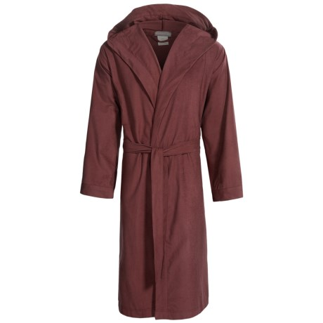 Coyuchi Cloud Robe - Brushed Flannel, Hooded, Long Sleeve (For Men and Women) in Mulberry