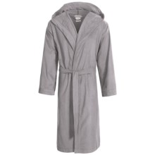 Coyuchi Cloud Robe - Brushed Flannel, Hooded, Long Sleeve (For Men and Women) in Pewter - Closeouts