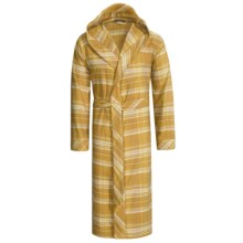 Coyuchi Cloud Robe - Brushed Flannel, Hooded, Long Sleeve (For Men and Women) in Plaid Mustard - Closeouts