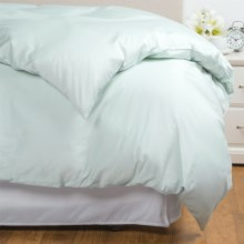 Coyuchi Coastal Organic Cotton Sateen Duvet Cover - Full-Queen, 300 TC in Misty Ocean - Overstock