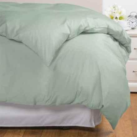 Coyuchi Coastal Organic Cotton Sateen Duvet Cover - King, 300 TC in Pale Dusty Aqua - Overstock
