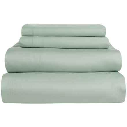 Coyuchi Coastal Organic Cotton Sateen Sheet Set - Full, 300 TC in Pale Dusty Aqua - Overstock