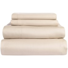 Coyuchi Coastal Organic Cotton Sateen Sheet Set - Queen, 300 TC in Sandstone - Overstock