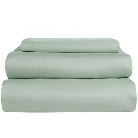 Coyuchi Coastal Organic Cotton Sateen Sheet Set - Twin, 300 TC in Pale Dusty Aqua - Overstock