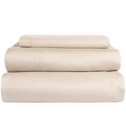 Coyuchi Coastal Organic Cotton Sateen Sheet Set - Twin, 300 TC in Sandstone - Overstock