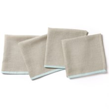 "Coyuchi Color Border Linen Napkins - Set of 4, 20x20"" in Pale Dusty Aqua - Closeouts"