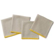 "Coyuchi Color Border Linen Napkins - Set of 4, 20x20"" in Sunflower - Closeouts"