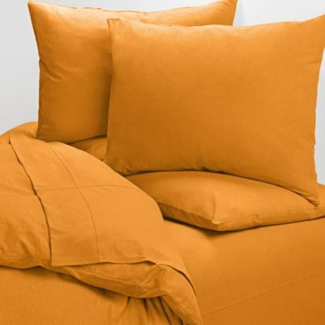 Coyuchi Cotton Jersey Sheet Set - Full in Tangerine
