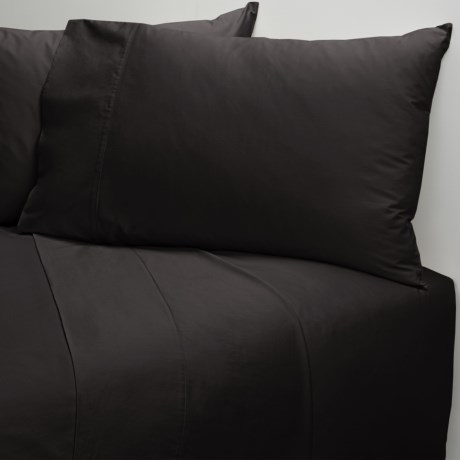 Coyuchi Cotton Sateen Fitted Sheet - Queen, 300 TC in Almost Black