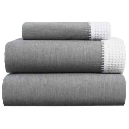 Coyuchi Crochet Trimmed Sheet Set - Twin in Mid Gray Chambray W/Alpine White - Closeouts