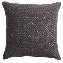 "Coyuchi Diamond Crochet Decor Pillow - 20x20"" in Charcoal - Closeouts"