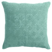 "Coyuchi Diamond Crochet Decor Pillow - 20x20"" in Mid Dusty Aqua - Closeouts"
