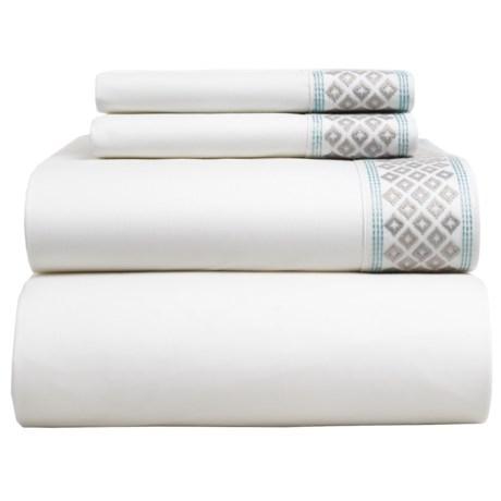Coyuchi Diamond Cuff Sheet Set - King, Organic Cotton in Alpine White/Fog/Pale Dusty Aqua