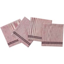 "Coyuchi Drifting Stripe Organic Cotton Napkins - 20x20"", Set of 4 in Mulberry/Charcoal - Closeouts"