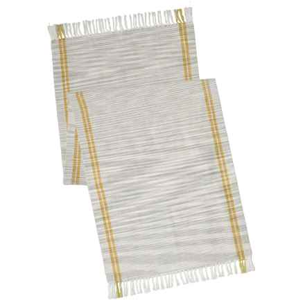 "Coyuchi Drifting Stripe Table Runner - 18x60"", Organic Cotton in Mid Gray W/Sunflower - Closeouts"