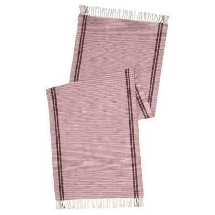 "Coyuchi Drifting Stripe Table Runner - 18x60"", Organic Cotton in Mulberry W/Charcoal - Closeouts"