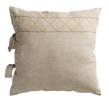 Coyuchi Embroidered Linen Pillow Sham - Euro in Natural W/Ochre-Grey - Closeouts