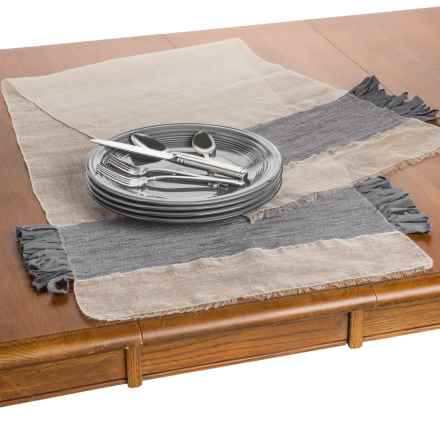 "Coyuchi Flowing Fringe Table Runner - 18x60"", Linen-Organic Cotton in Natural / Slate - Overstock"