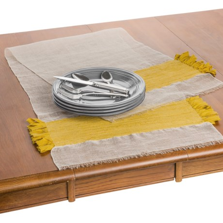 "Coyuchi Flowing Fringe Table Runner - 18x60"", Linen-Organic Cotton in Natural /Sunflower"