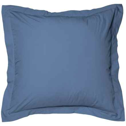 Coyuchi French Blue Organic Percale Pillow Sham - Euro, 220 TC in French Blue - Closeouts